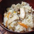 <きのこと鶏肉の炊き込みごはん>秋になると食べたいね