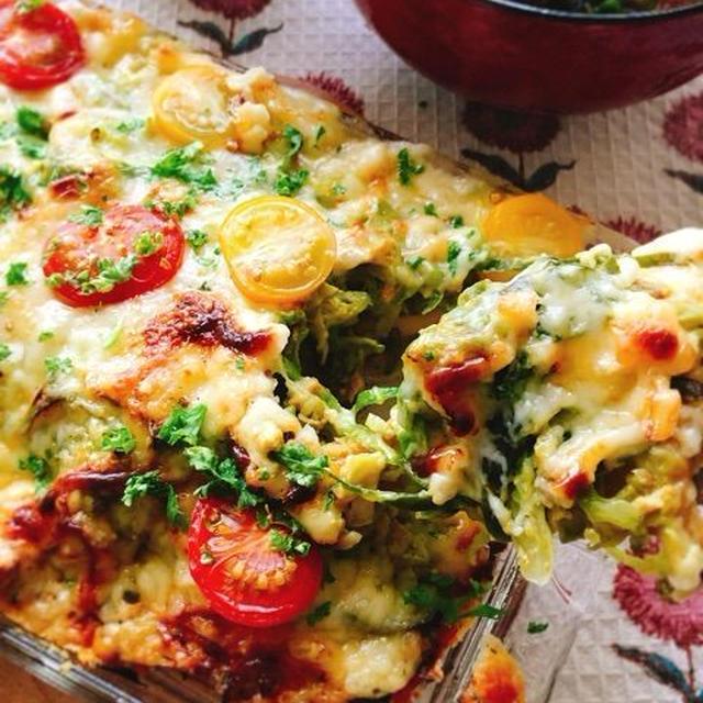 【低糖質ピザ】高野豆腐とキャベツのチーズ焼き(なまり節入り)