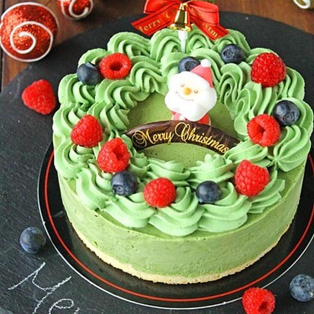 クリスマスリース風抹茶のアイスケーキ☆混ぜて冷やすだけの簡単アイス