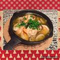 クリスマスに☆海老の旨味たっぷりの海老とブラウンマッシュルームのアヒージョ