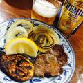 筍と牛肉のバターステーキ&牛タンと野菜のグリル♡