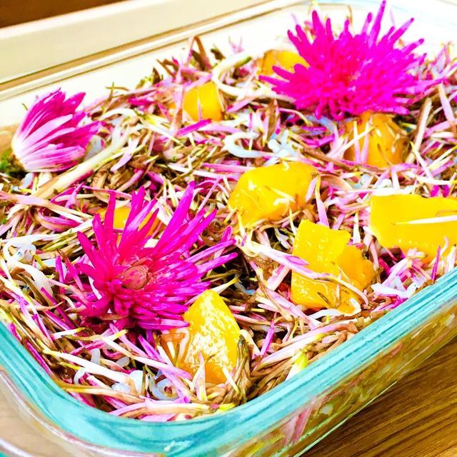 菊と黄桃のしらすチーズ和え♡簡単おつまみ♪