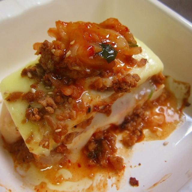 【肉味噌リメイク!】豆腐とキムチのピリ辛肉味噌チーズ焼き