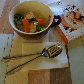 にんべん「だしとスパイスの魔法」de鮭のクリームチャウダー☆