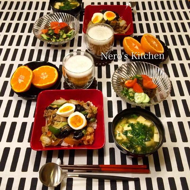 中華丼・沖縄もずくとオクラのサラダ♪