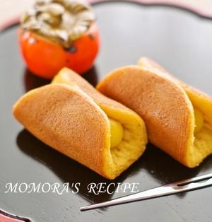 ホットケーキミックスHMで簡単♡秋のお菓子♪半月どら焼き さつまいもカスタードクリーム