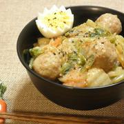白菜と肉団子の豆乳生姜あんかけ丼☆