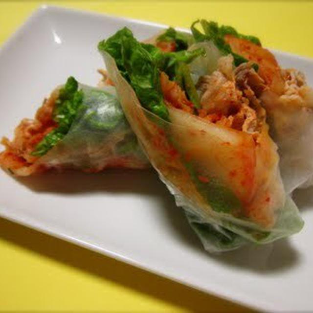 豚しゃぶキムチの生春巻き boiled pork shabu-shabu and kimchi spring roll!!