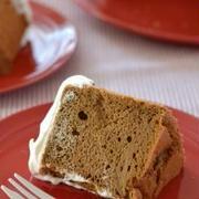 シナモンコーヒーシフォンケーキ。(練乳ホイップのせ)
