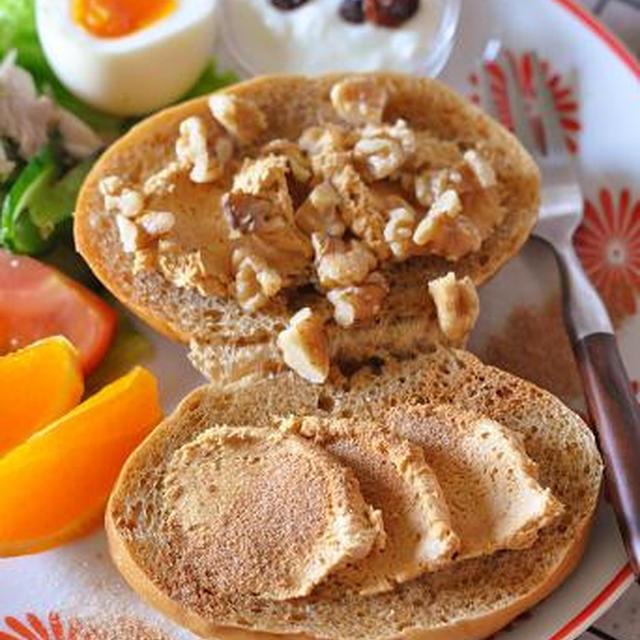 ちょい足しが美味しい!きな粉ピーナッツクリームとシナモンシュガーとクルミのコッペパン