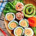 サーモンと卵のお花の巻き寿司