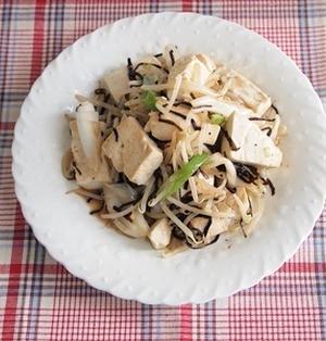 豆腐ともやしのあっさり塩昆布炒め