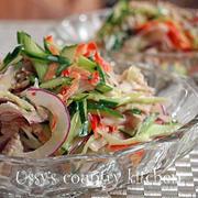 豚こまと生野菜のオトナサラダ♪