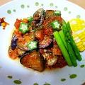 イワシとナスのトマト煮(粗挽き高野豆腐入り♪)