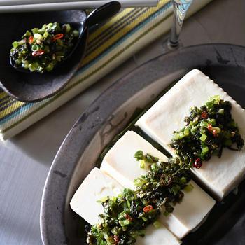 やみつき薬味タレ💛昆布締め豆腐