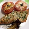 シンプルがいい。鮭のハーブパン粉焼き&いわきトマトのチーズのせグリル by quericoさん