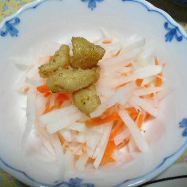 カリカリ鶏皮★水菜大根サラダ♪ 〜 みぃたまさん〜