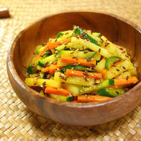 オリジナルのカレー風味~♪de彩りスティック野菜サラダ Colorful vegetable sticks salad taste with curry flavor -Recipe No.1483-