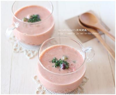 レシピ【包丁・まな板要らずで簡単!トマトとミックスビーンズの冷製スープ】&徹子のくだらない話