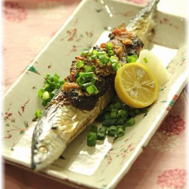 秋刀魚の梅味噌焼き。 と献立。