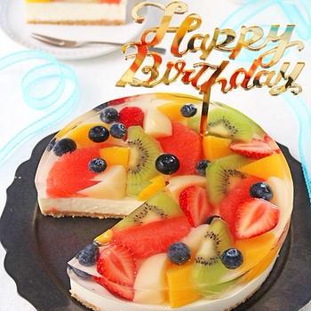 キラキラフルーツゼリー乗せレアチーズケーキ♪バースデーケーキ