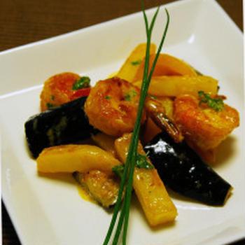 海老と彩り野菜のマヨ炒め☆梅酒風味:島のご報告最終回!(やっと…)