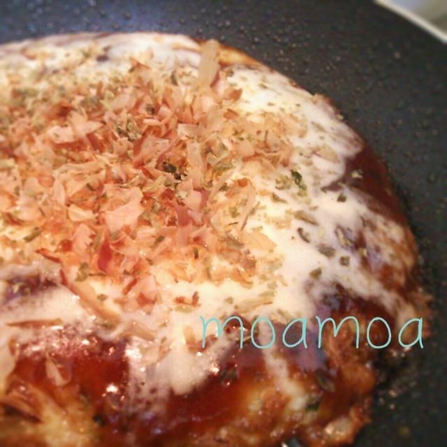 フライパンでチーズがとろーりお好み焼き(*´ω`*)♪節約