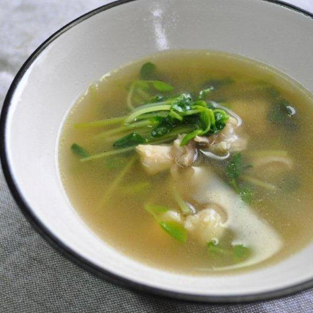 鶏軟骨*豆苗スープ