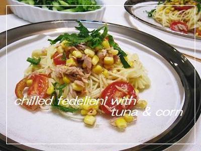 茹で時間の6分で、ツナとコーンの冷製フェデリーニ。