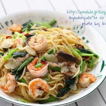 昼カフェ☆海老と小松菜のペペロンチーノ