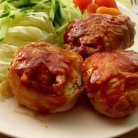 節約におすすめ☆ポテサラ肉巻きブルドックうまソース味