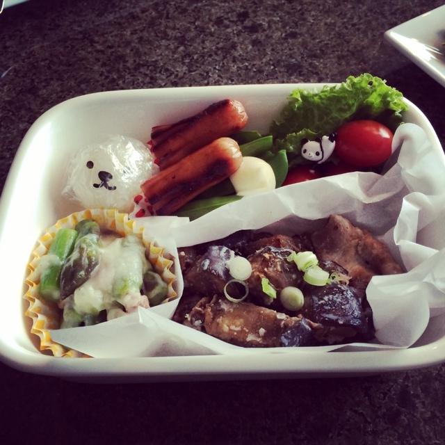 秋茄子と豚バラ炒めのお弁当