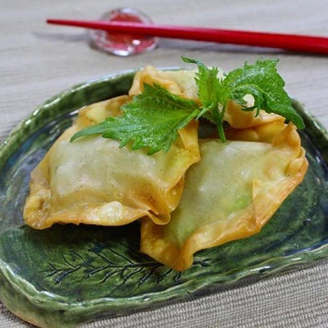 野沢菜とチーズの簡単お焼き風揚げワンタン