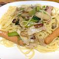 きのこと小松菜のペペロンチーノスパゲティ