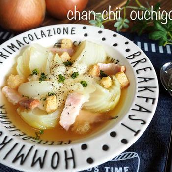 玉ねぎ丸ごとぺろり♪花咲きオニオンスープ♡ と スイミング。