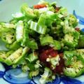 鯖の味噌煮缶とほうれん草をレンチン~オクラと梅干しのポン酢しょうゆ和え