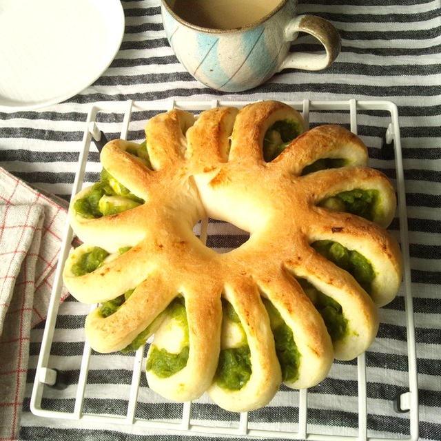 うぐいす餡の、花形パン &うぐいす餡の作り方