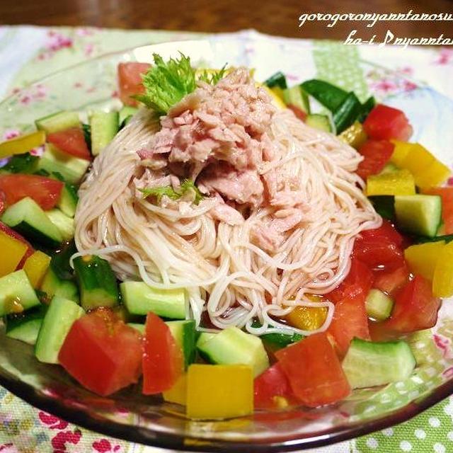 カゴメ「トマトそうめんつゆ」で<野菜たっぷりそうめんサラダ>