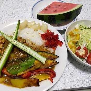 福神漬けの日の夏野菜カレーライス