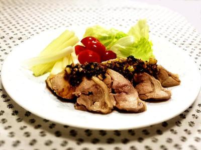 我家の夕食 鶏の酒蒸し特製中華タレかけ