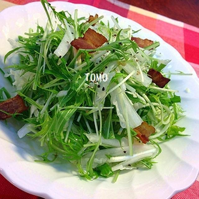 簡単サラダ♪白菜と水菜のカリカリベーコンサラダ と ブログ納め