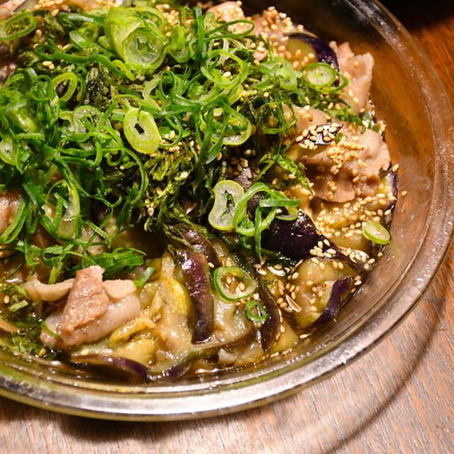 ナスと豚バラのレンジ蒸し、麺つゆ和え。レンジ完結型!簡単!
