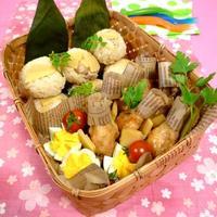 お花見筍ごはん弁当☆筍づくしの籠弁当!!