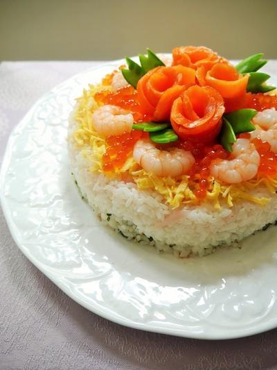 ひなまつり♪~ちらし寿司のケーキ