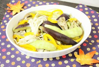 レンチンで作るので楽ちん♪サッパリ・ヘルシーなナスとキノコの柚子胡椒和え