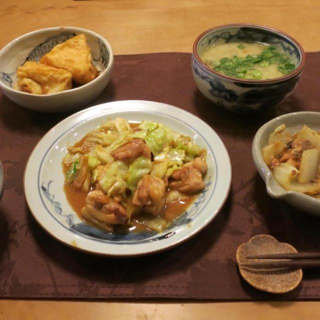 鶏ちゃん風~鶏肉とキャベツの炒め物と 可憐な椿の花♪