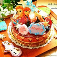【オーダーケーキ】アナ雪の苺のフレジェ♪雛祭りケーキ