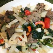 牛肉とレンコンのガパオ風炒め