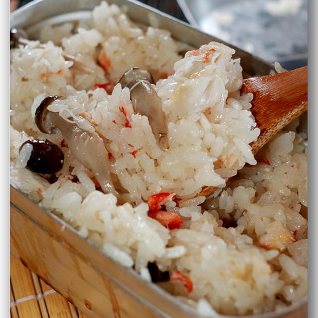 蟹とシメジの炊き込みごはん ☆ メスティン料理