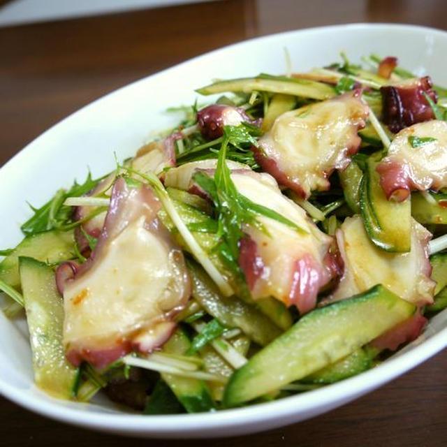 【簡単レシピ】タコの水菜ときゅうりの中華サラダ♪